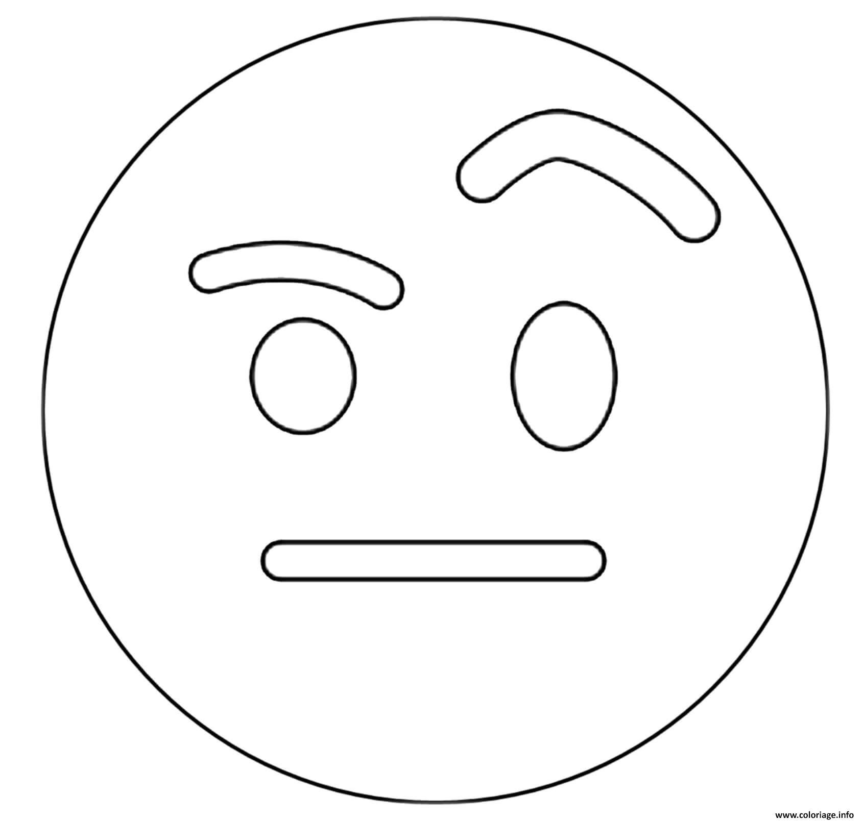 Dessin Twitter Raised Eyebrow Emoji Coloriage Gratuit à Imprimer