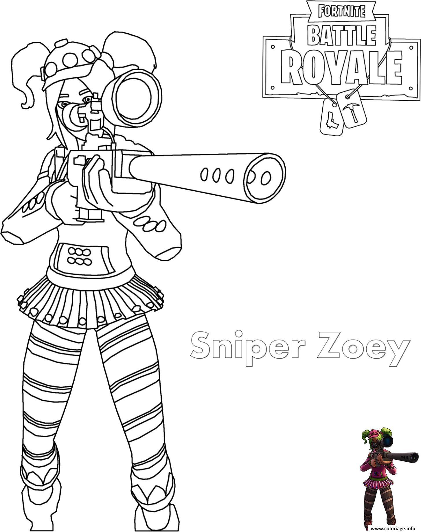 Coloriage Zoey Sniper Rifle Fortnite dessin