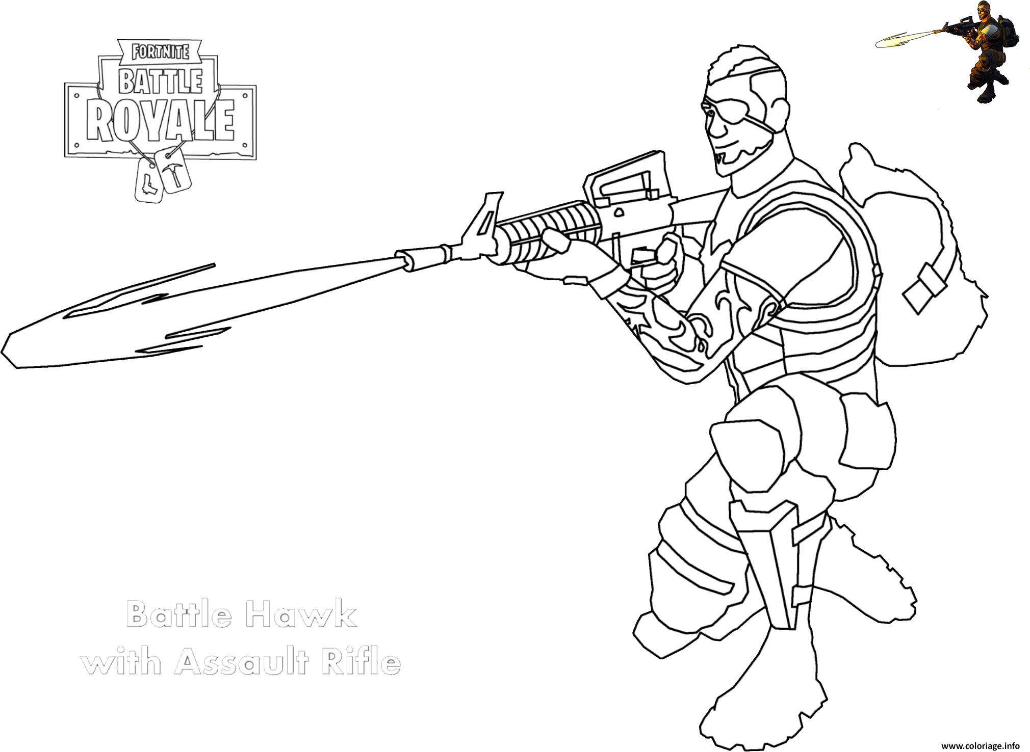 Coloriage Assault Rifle Shot Fortnite Dessin