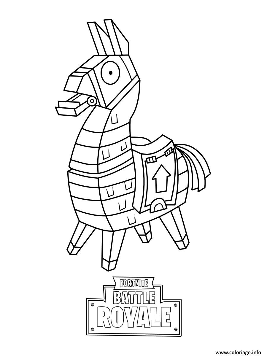 Coloriage Mini Fortnite Lama Skin Dessin à Imprimer