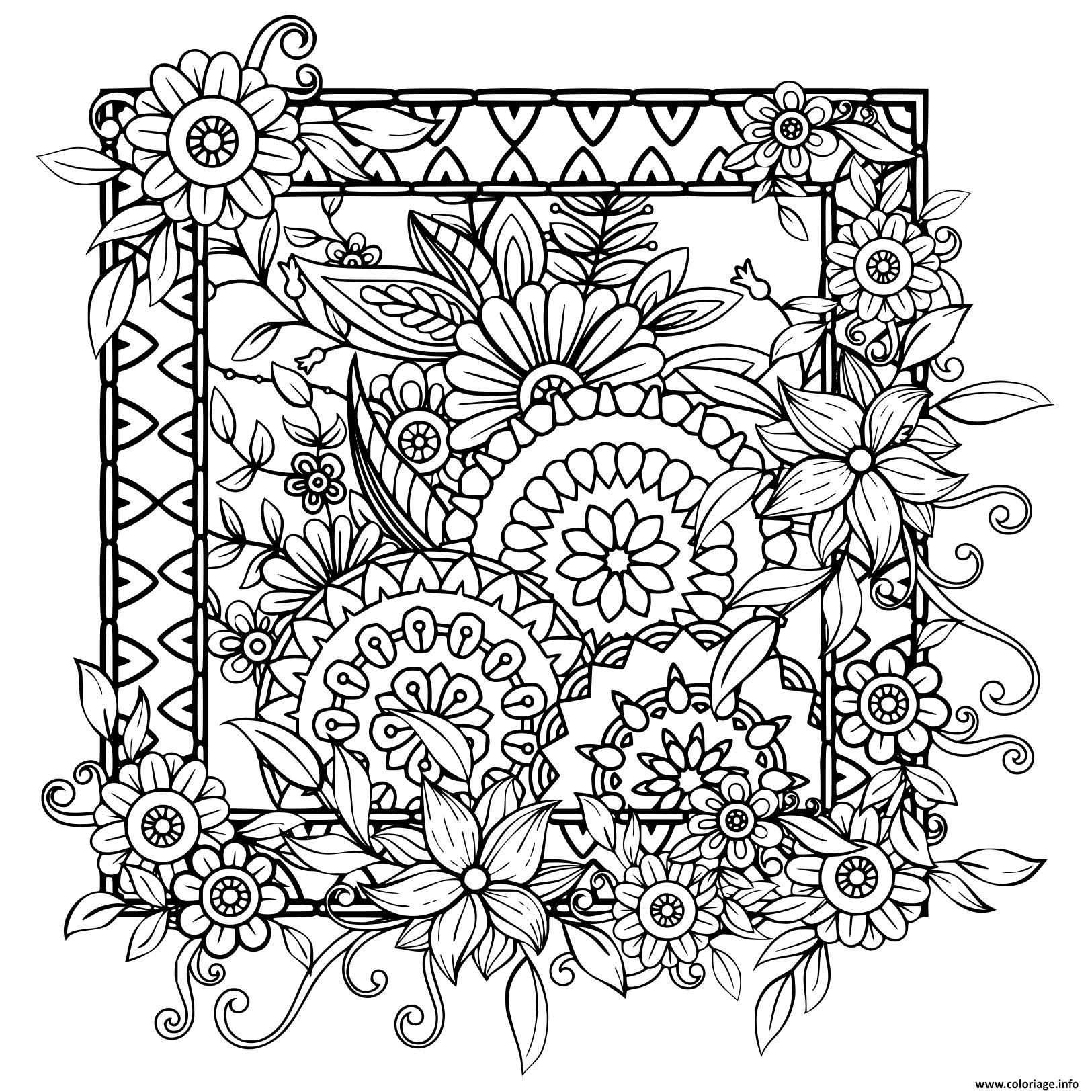 Coloriage Adultes Avec Des Fleurs Motif Noir Et Blanc Doodle
