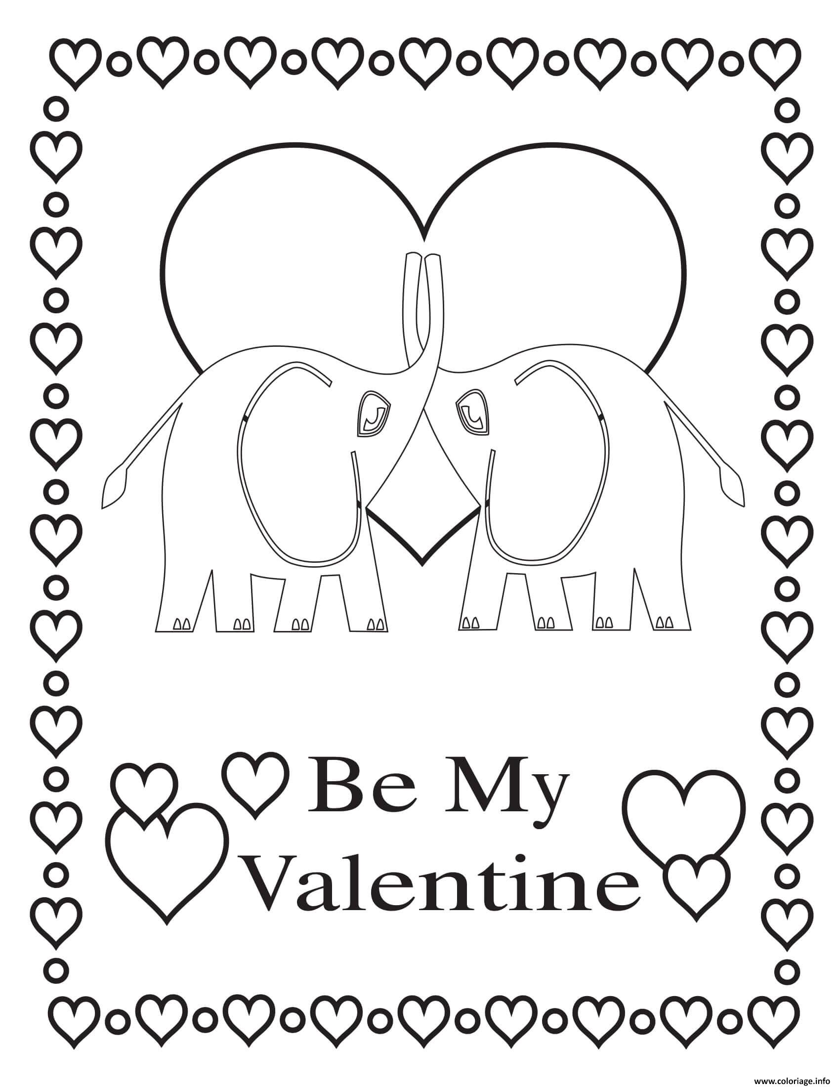 Dessin amour soit mon valentine Coloriage Gratuit à Imprimer