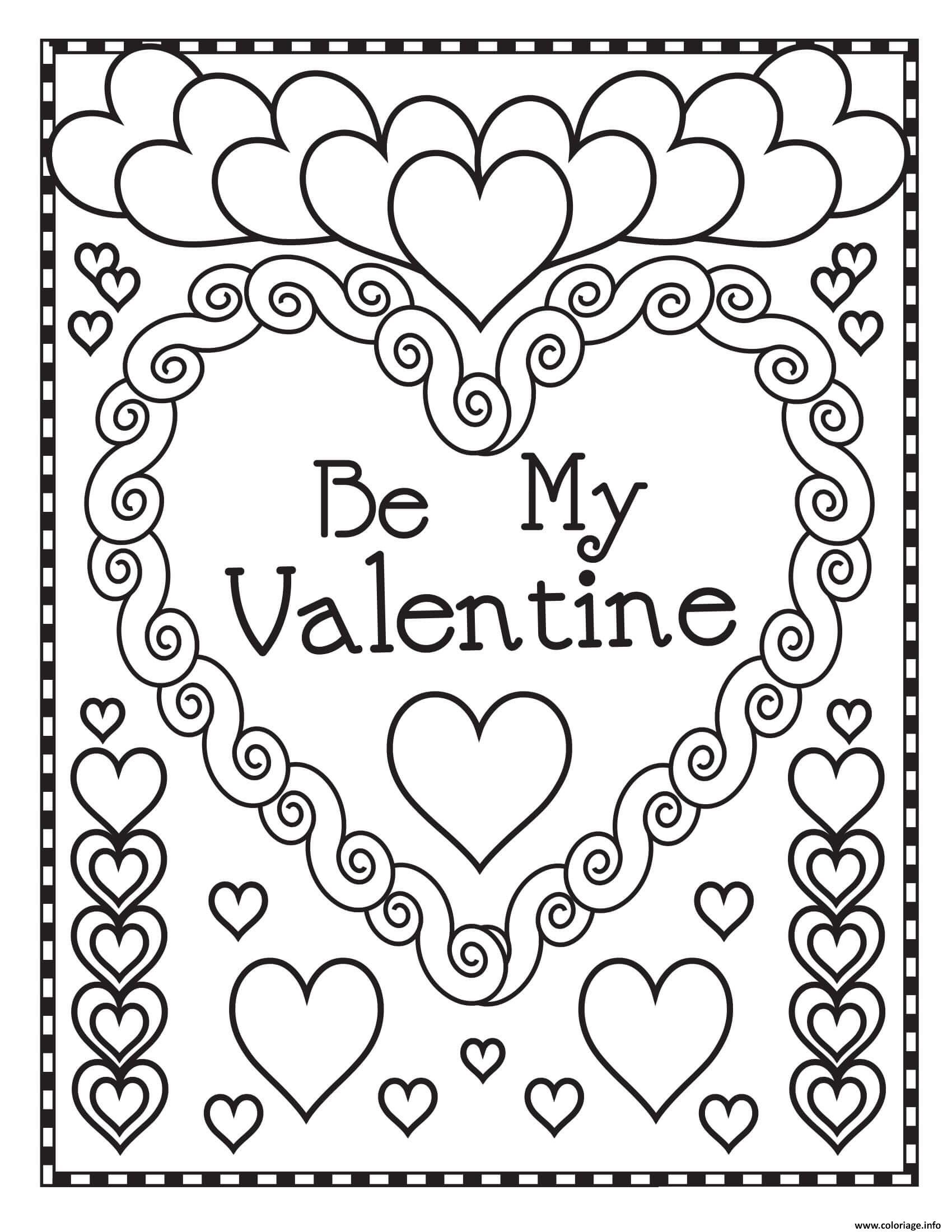 Dessin mandala coeur soit ma valentine Coloriage Gratuit à Imprimer