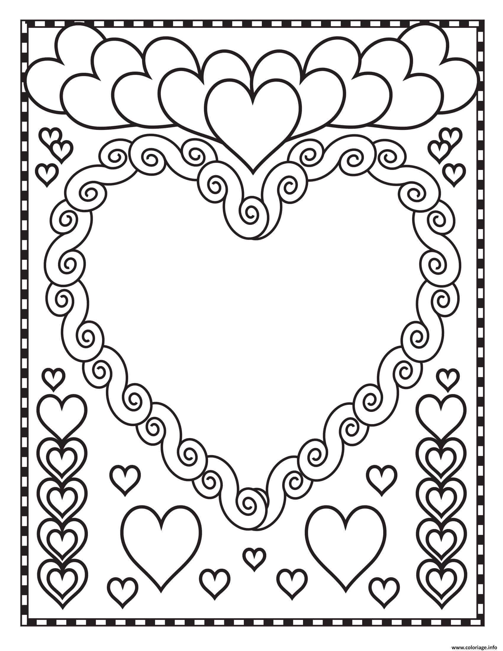 Dessin st valentin coeurs blanc Coloriage Gratuit à Imprimer