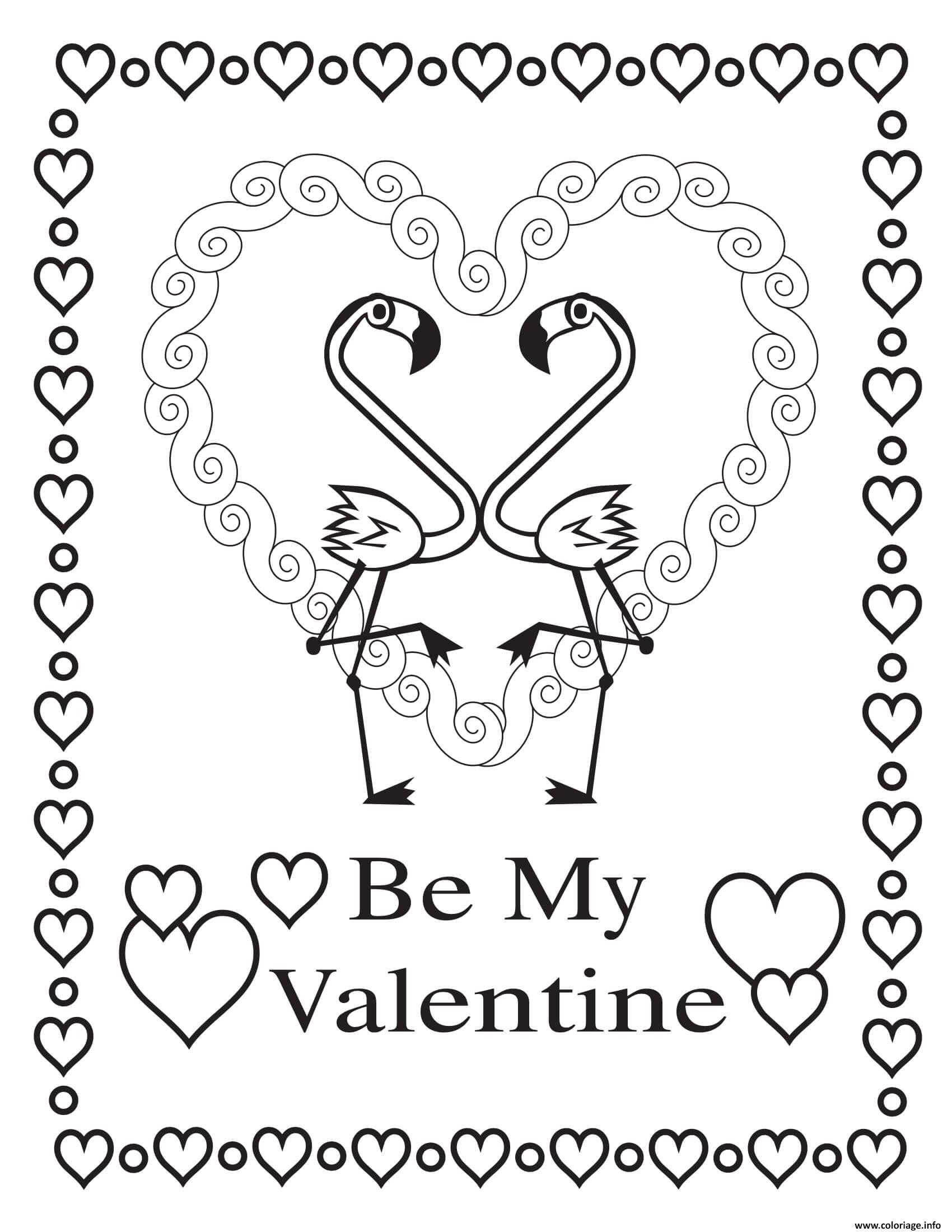 Dessin stvalentin amoureux flamingoes Coloriage Gratuit à Imprimer