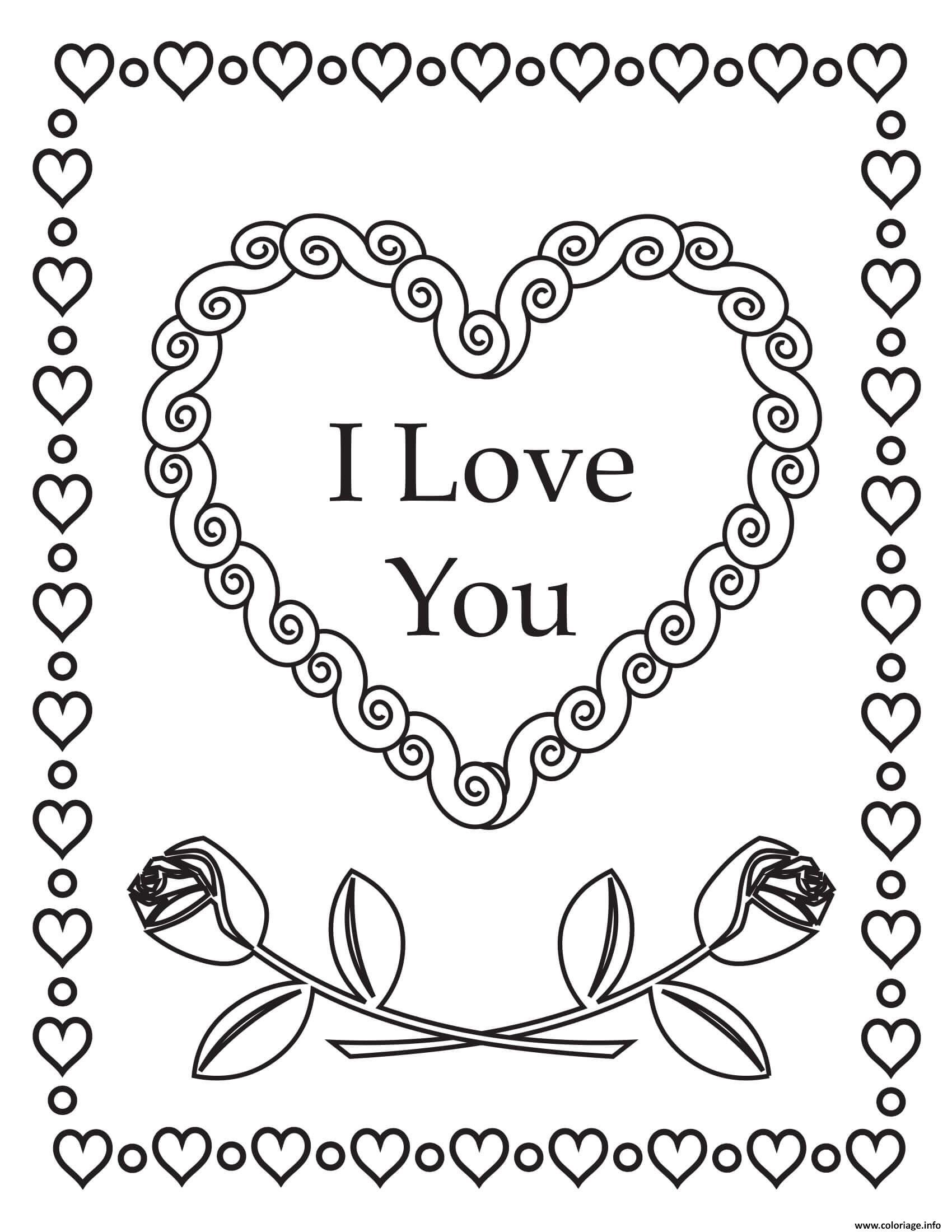 Dessin je taime coeurs de roses mandala Coloriage Gratuit à Imprimer