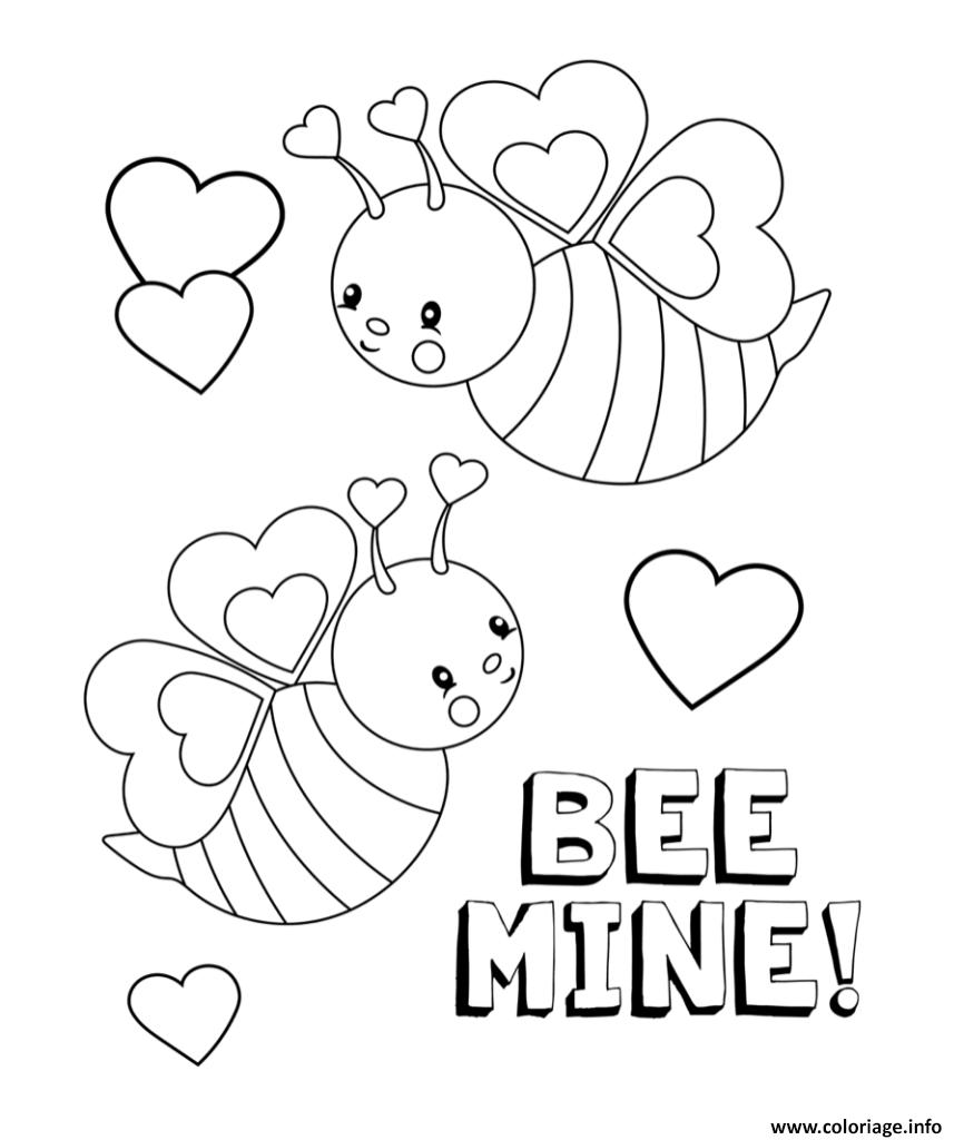 Dessin saint valentin 2019 be mine Coloriage Gratuit à Imprimer