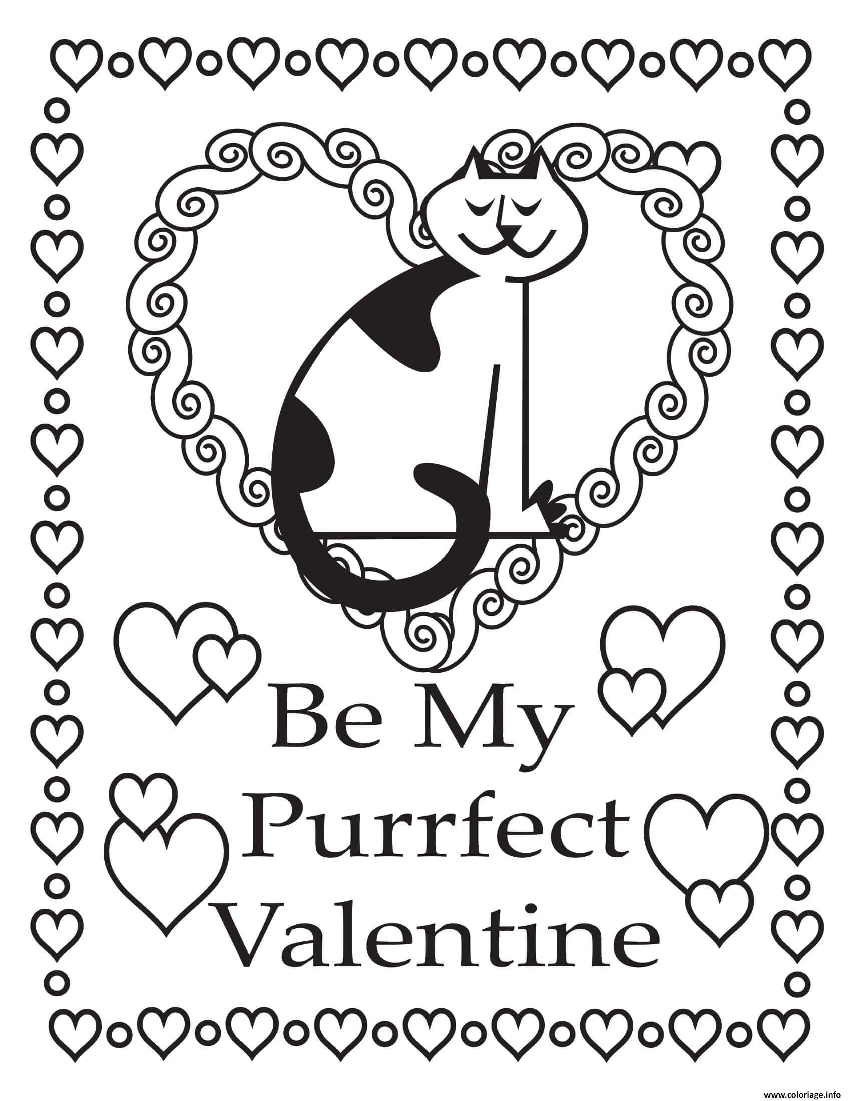 Dessin sois mon saint valentin Coloriage Gratuit à Imprimer