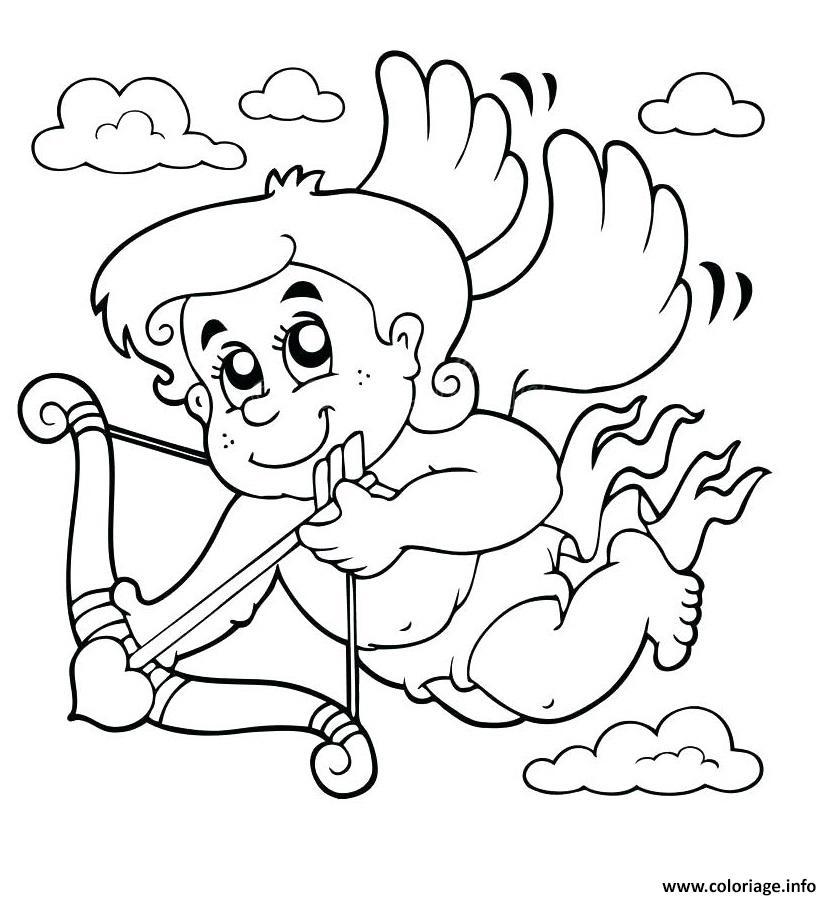 Dessin cupidon dans les nuages Coloriage Gratuit à Imprimer