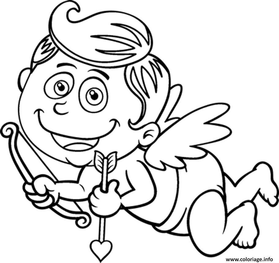 Dessin cupidon content saint valentin Coloriage Gratuit à Imprimer