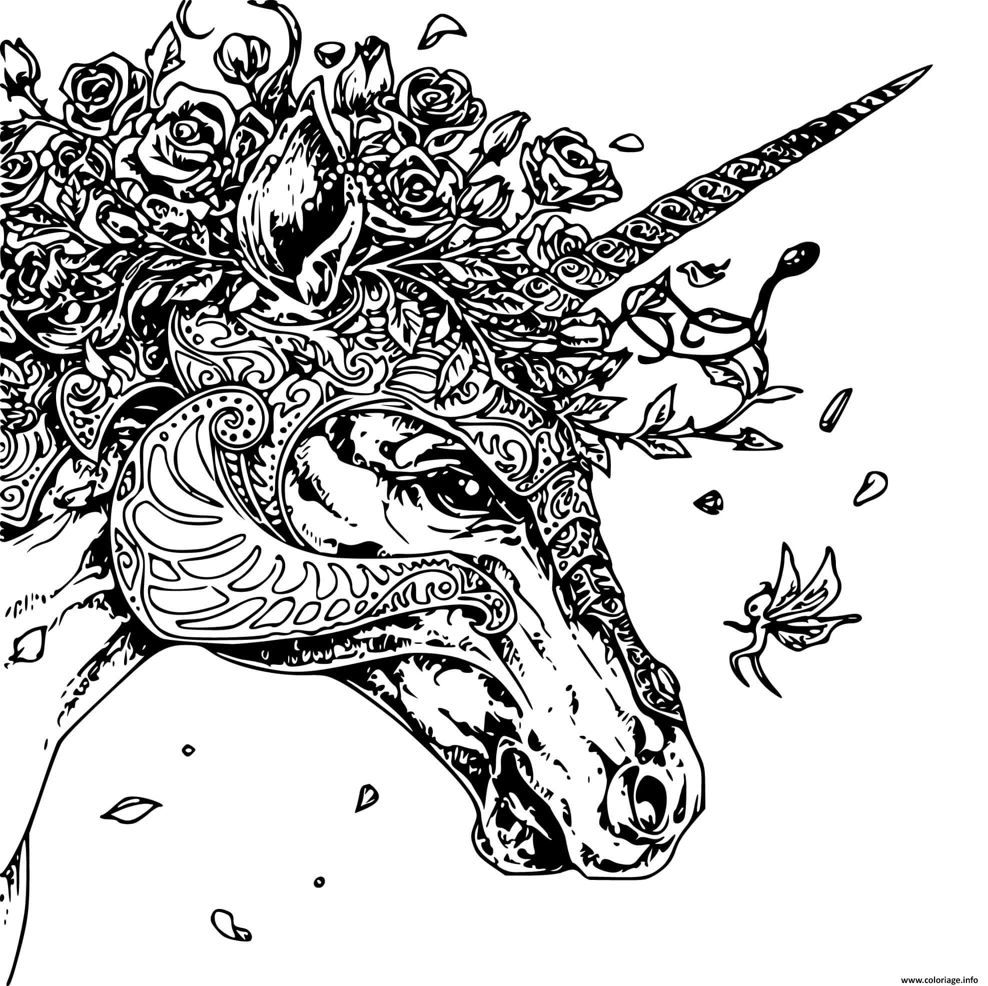 Coloriage Licorne Unique Adulte Zentangle dessin