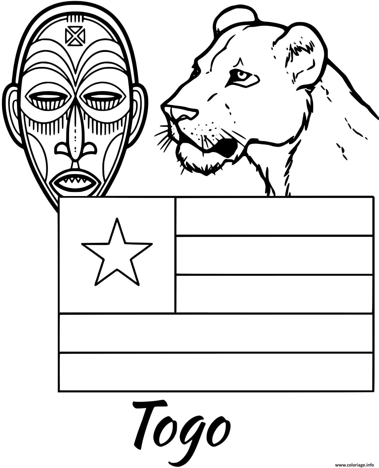 Dessin togo drapeau tribal mask Coloriage Gratuit à Imprimer