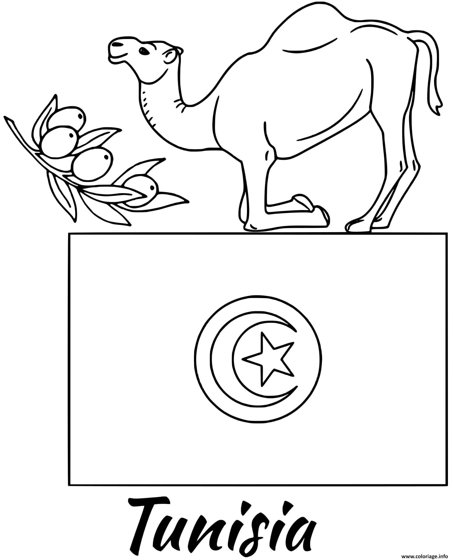 Dessin tunisie drapeau camel Coloriage Gratuit à Imprimer