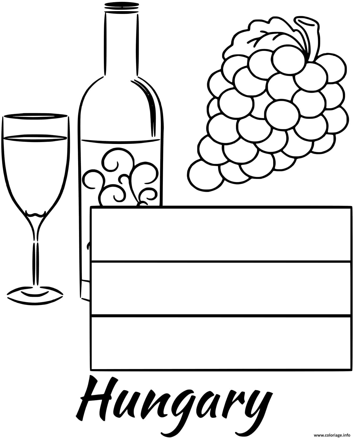 Dessin hungary drapeau wine Coloriage Gratuit à Imprimer