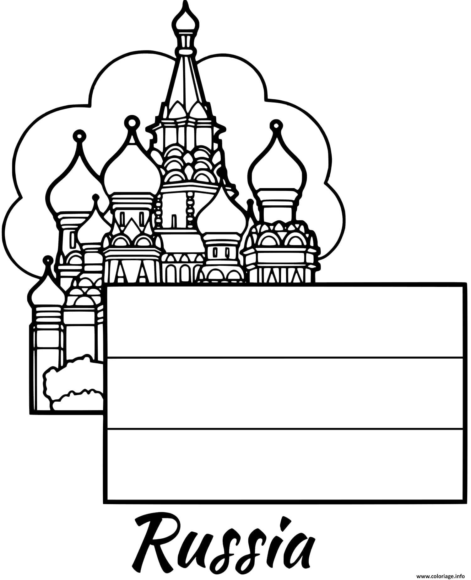 Dessin russie drapeau moscow Coloriage Gratuit à Imprimer