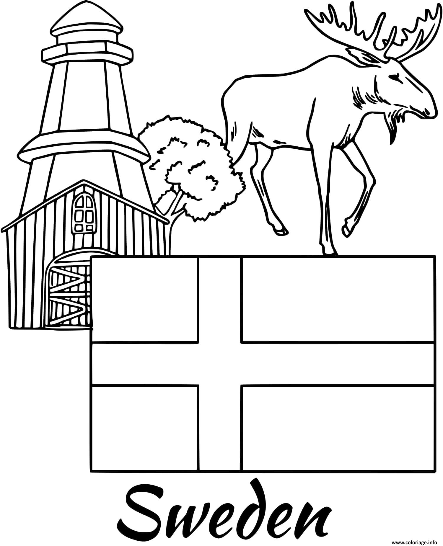 Dessin suede drapeau moose Coloriage Gratuit à Imprimer