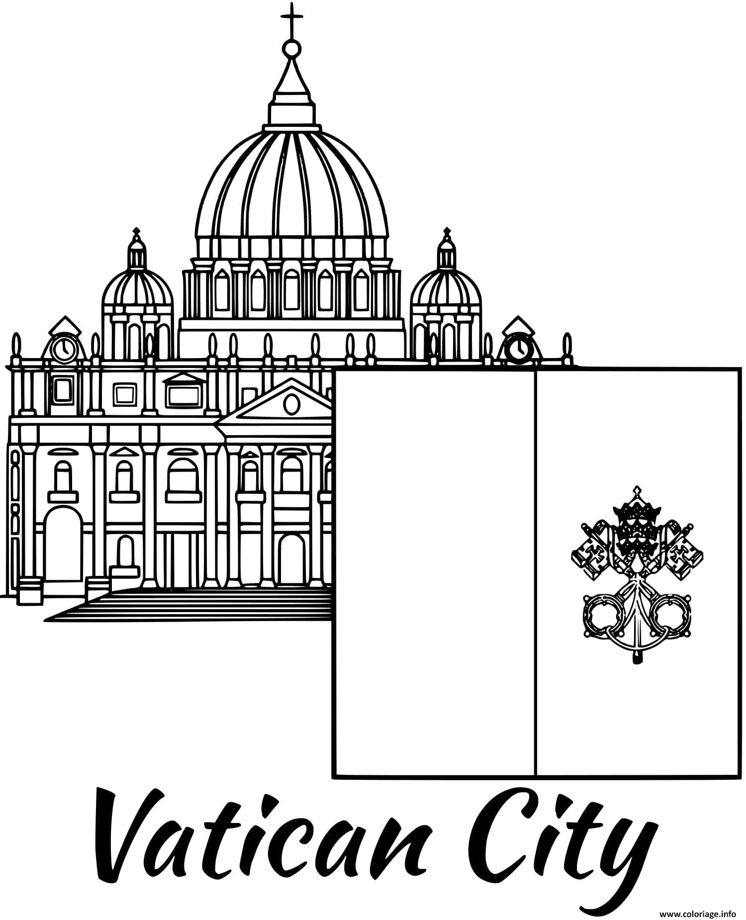 Dessin vatican drapeau st peters basilica Coloriage Gratuit à Imprimer