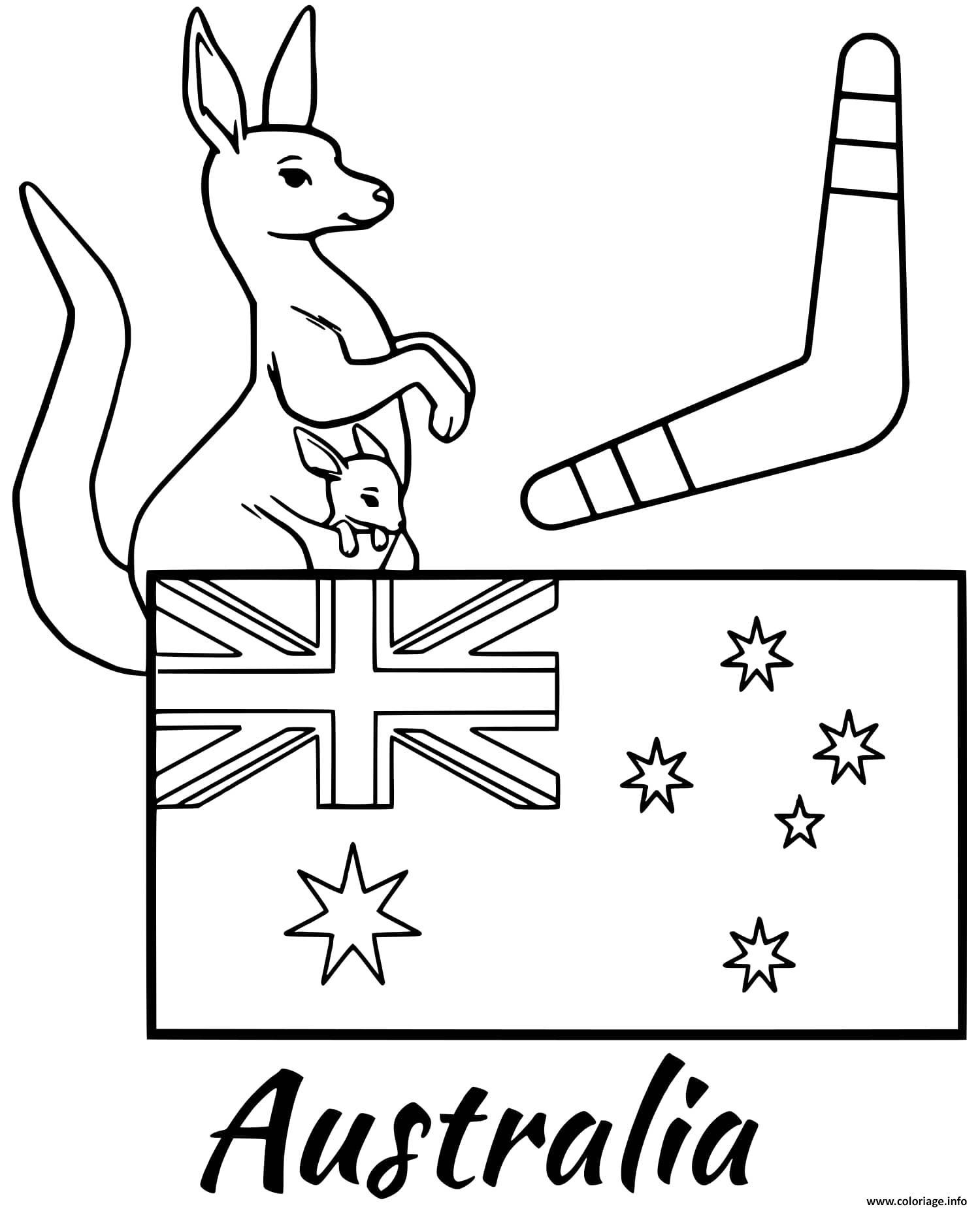 Coloriage Australie Drapeau Boomerang dessin