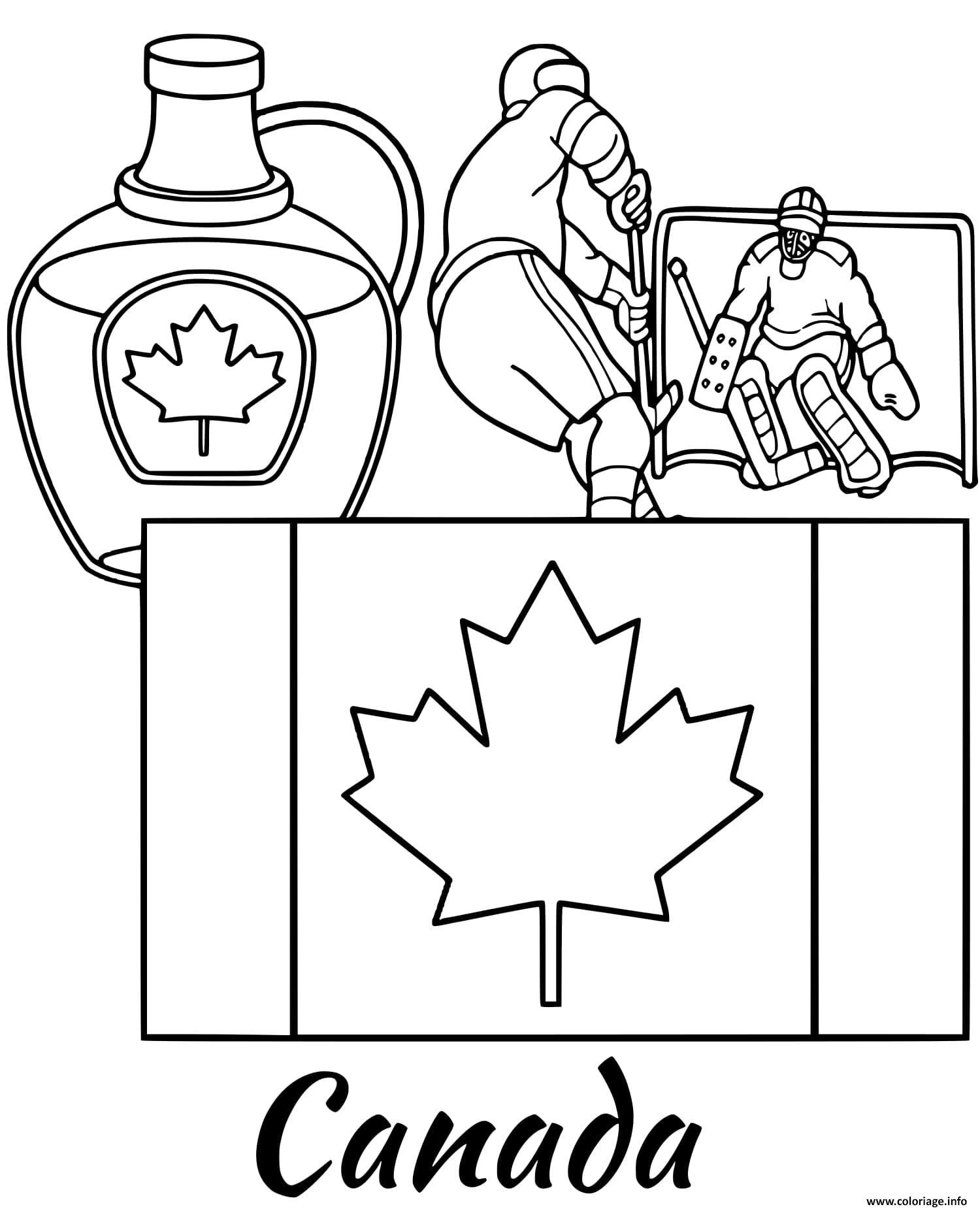 Dessin canada drapeau maple syrup Coloriage Gratuit à Imprimer