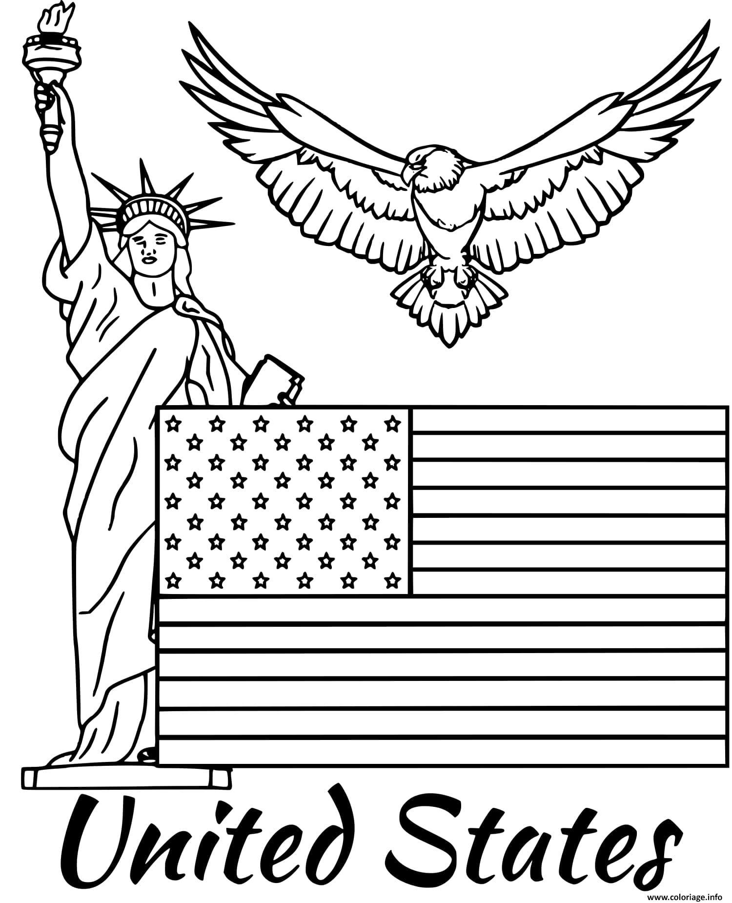 Dessin etats unis drapeau Coloriage Gratuit à Imprimer