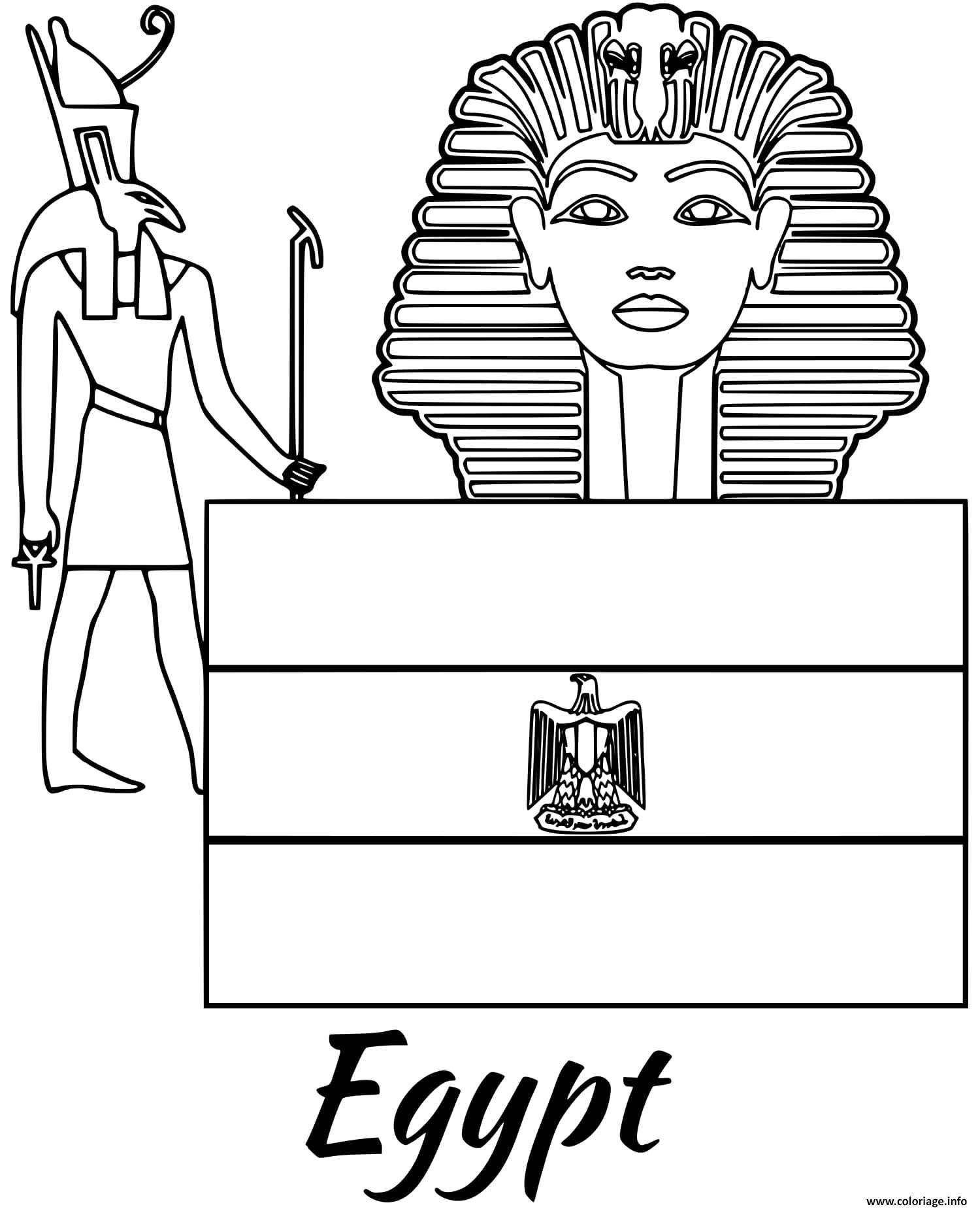 Dessin egypte drapeau sphinx Coloriage Gratuit à Imprimer