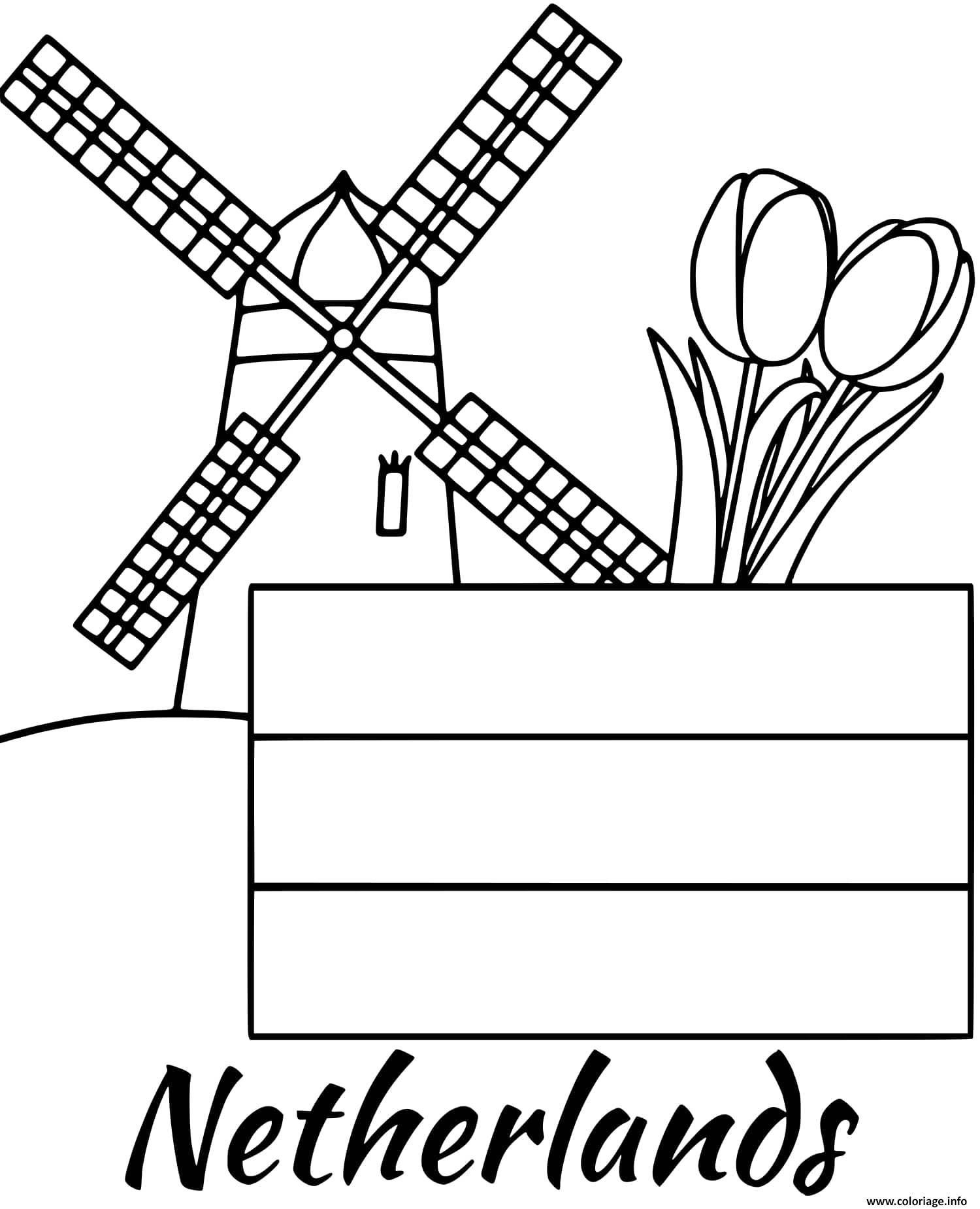 Dessin pays bas drapeau windmill Coloriage Gratuit à Imprimer