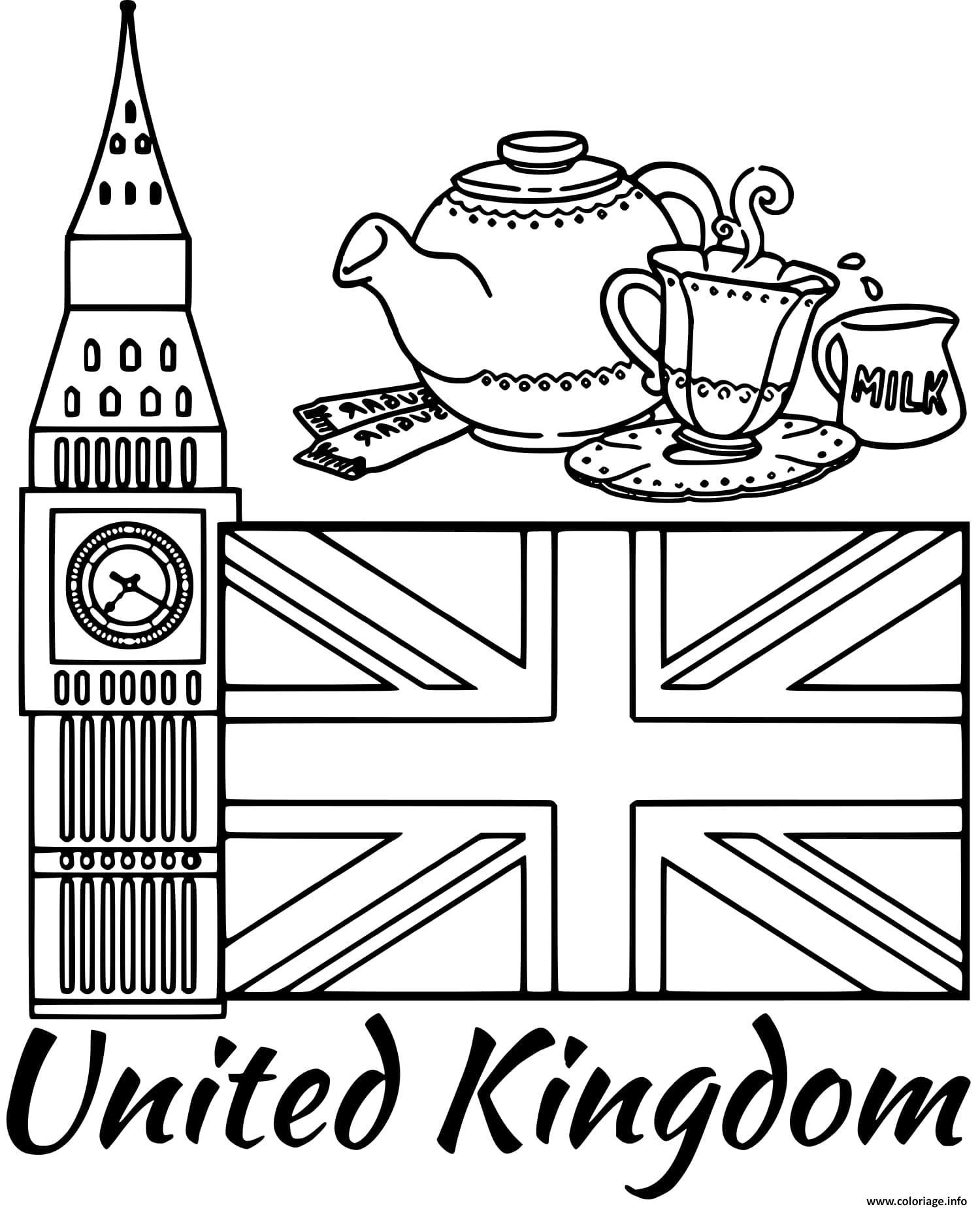 Dessin royaume uni drapeau big ben Coloriage Gratuit à Imprimer