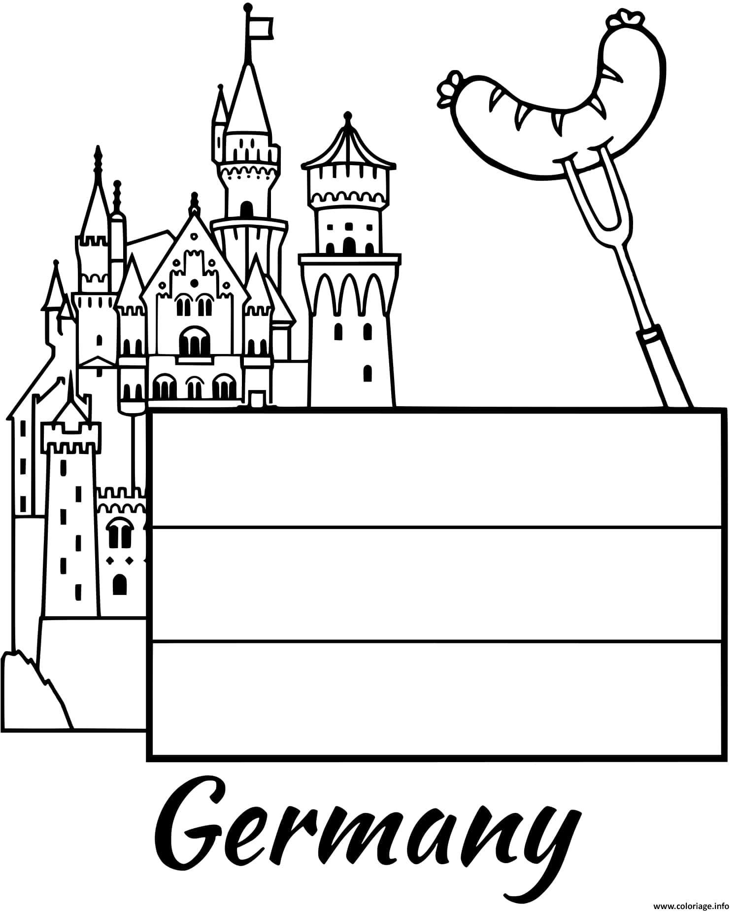 Coloriage Allemagne Drapeau Castle Dessin