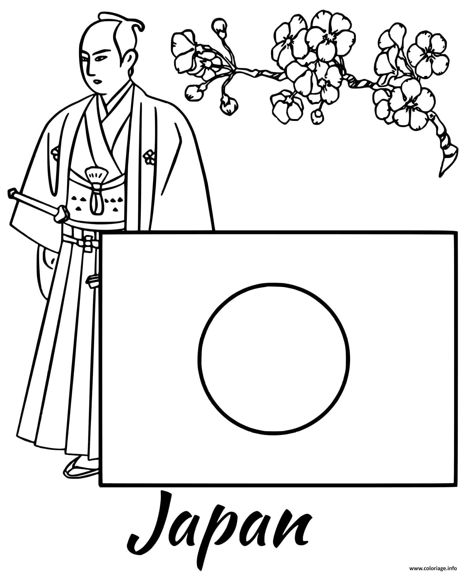 Dessin japon drapeau samurai Coloriage Gratuit à Imprimer