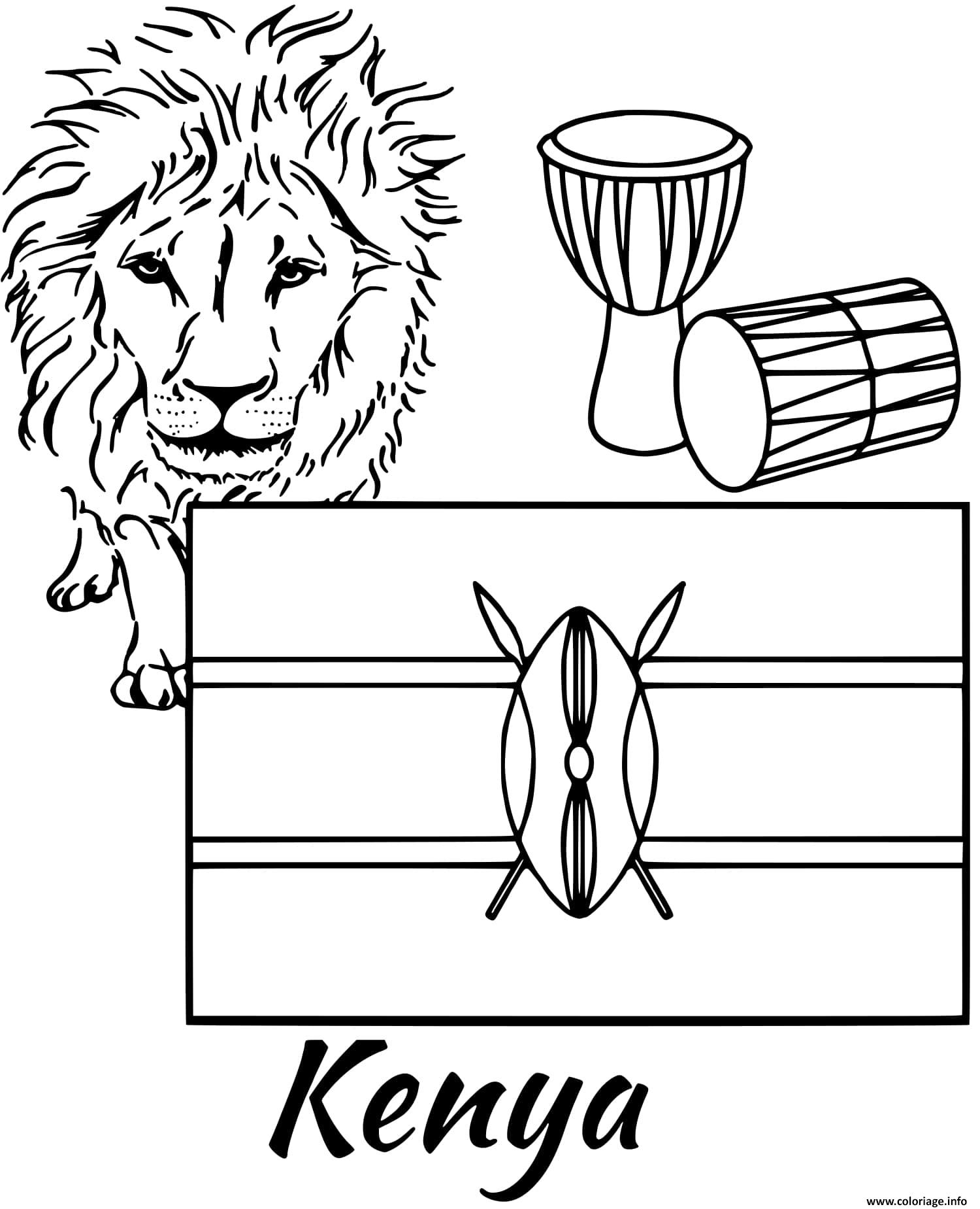 Dessin kenya drapeau lion Coloriage Gratuit à Imprimer