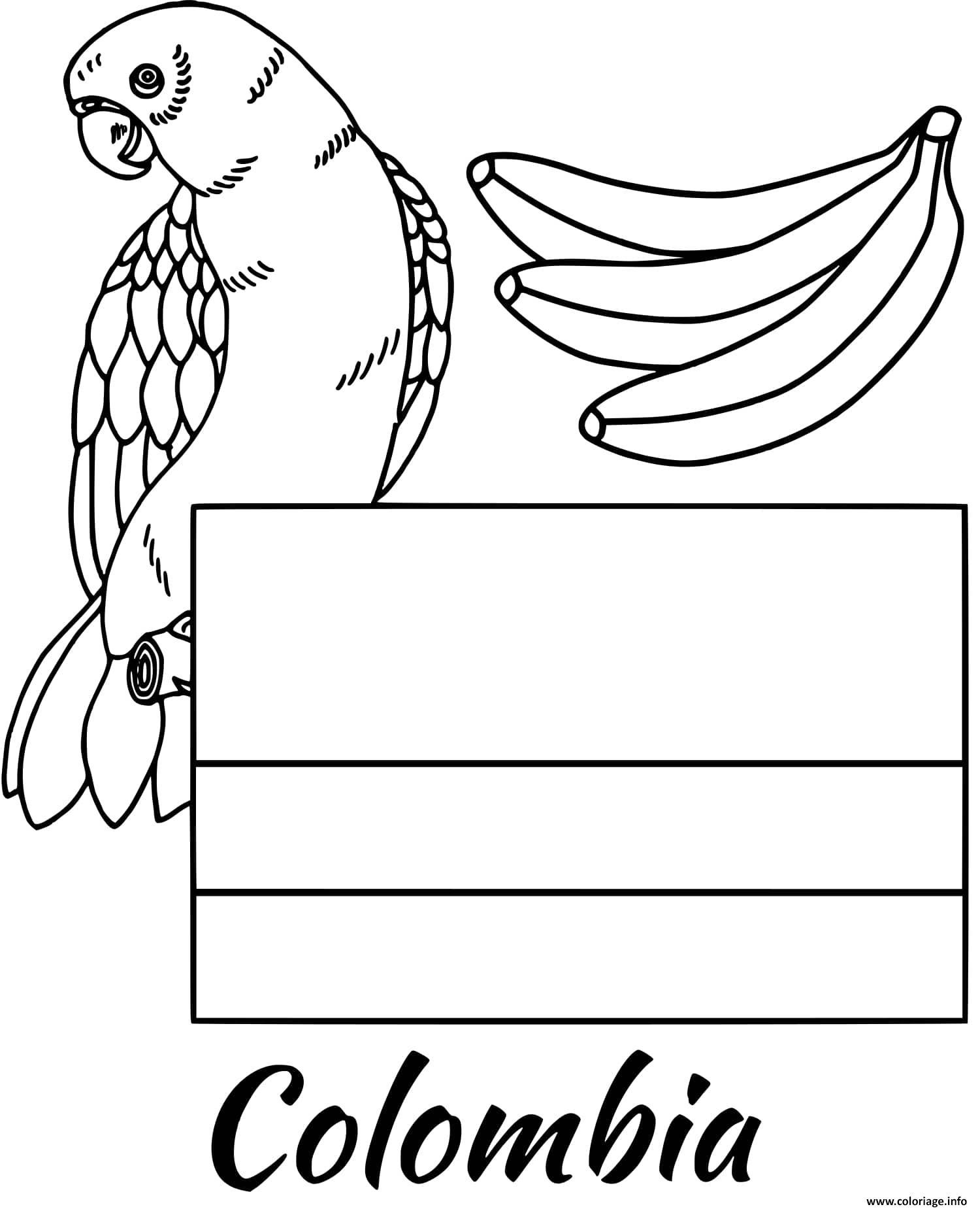 Dessin colombie drapeau parrot Coloriage Gratuit à Imprimer