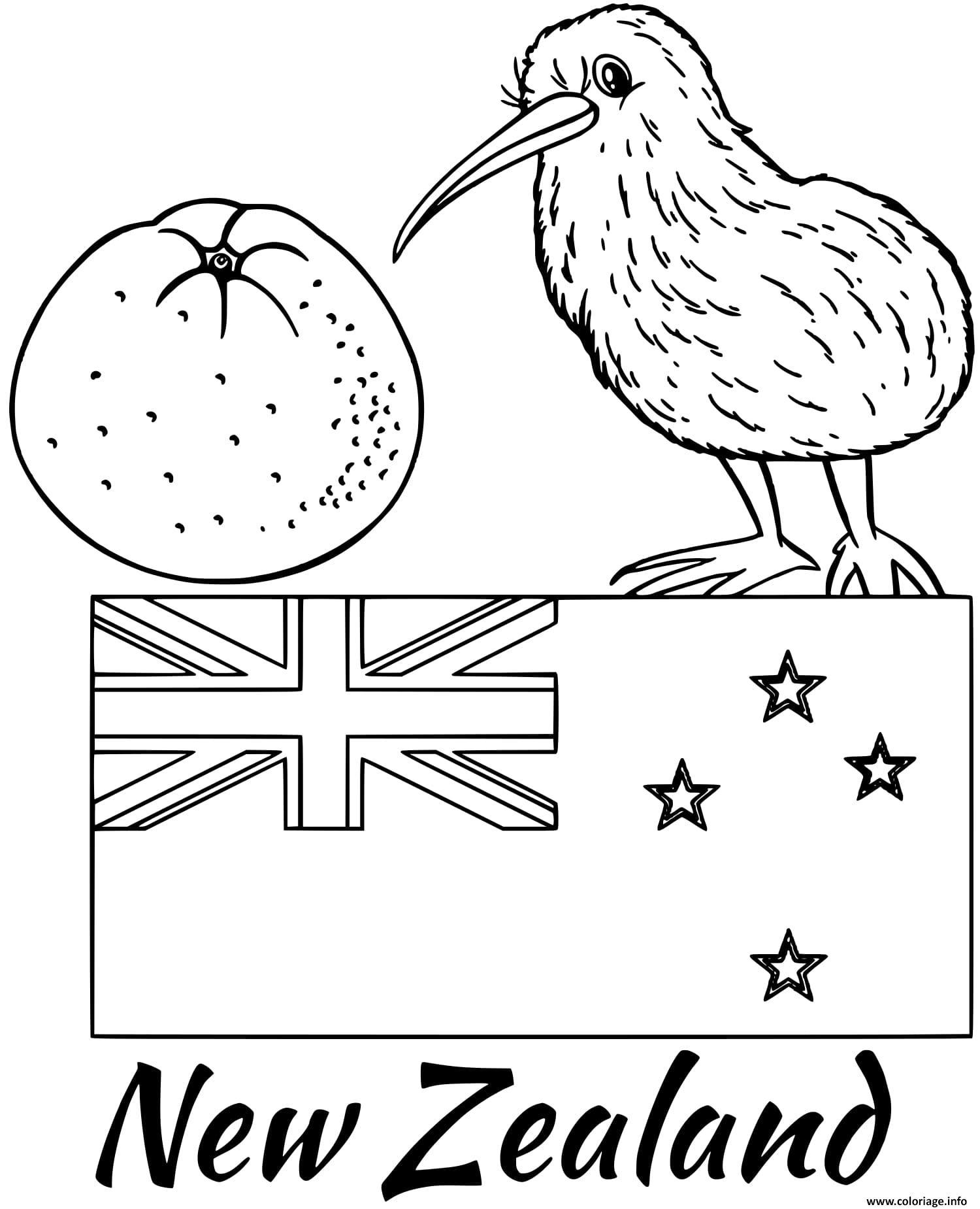 Dessin nouvelle zellande drapeau kiwi Coloriage Gratuit à Imprimer