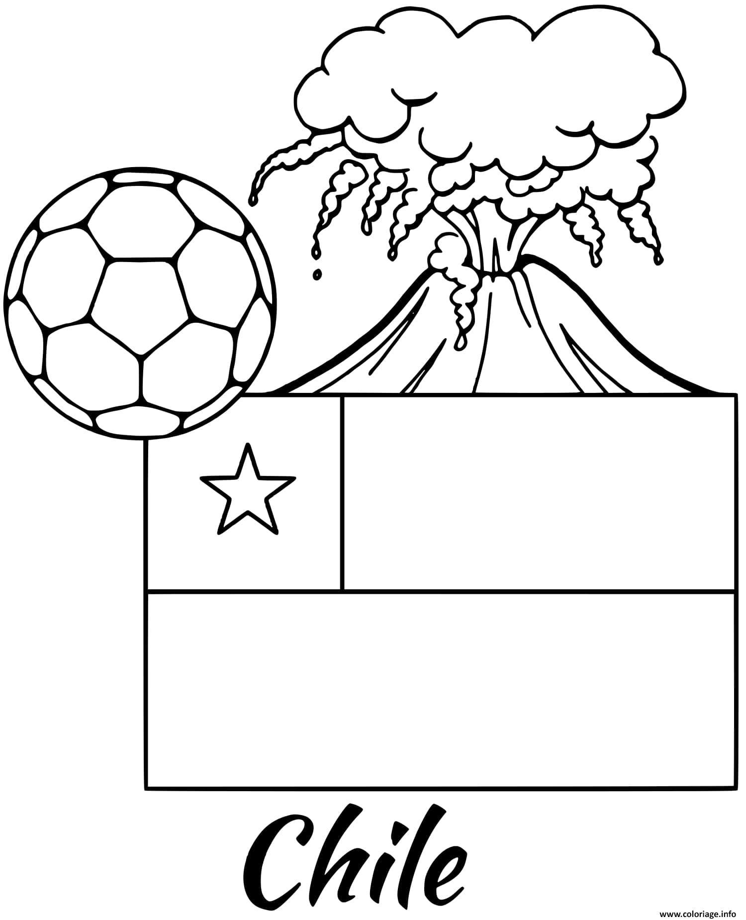 Dessin chile drapeau volcano Coloriage Gratuit à Imprimer