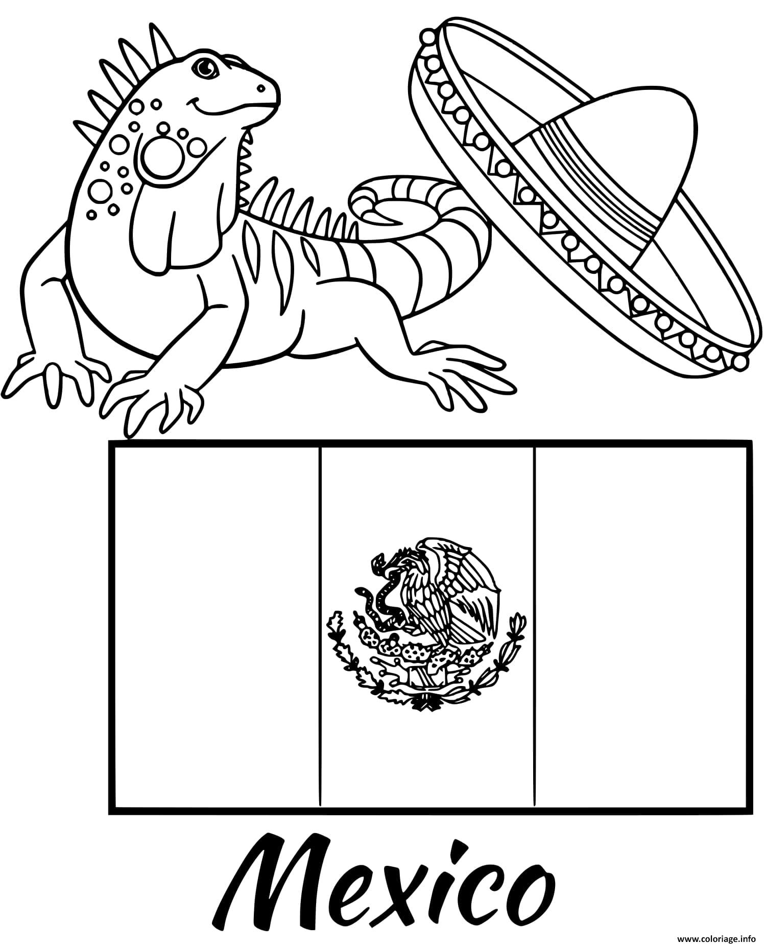Dessin mexique drapeau iguana Coloriage Gratuit à Imprimer