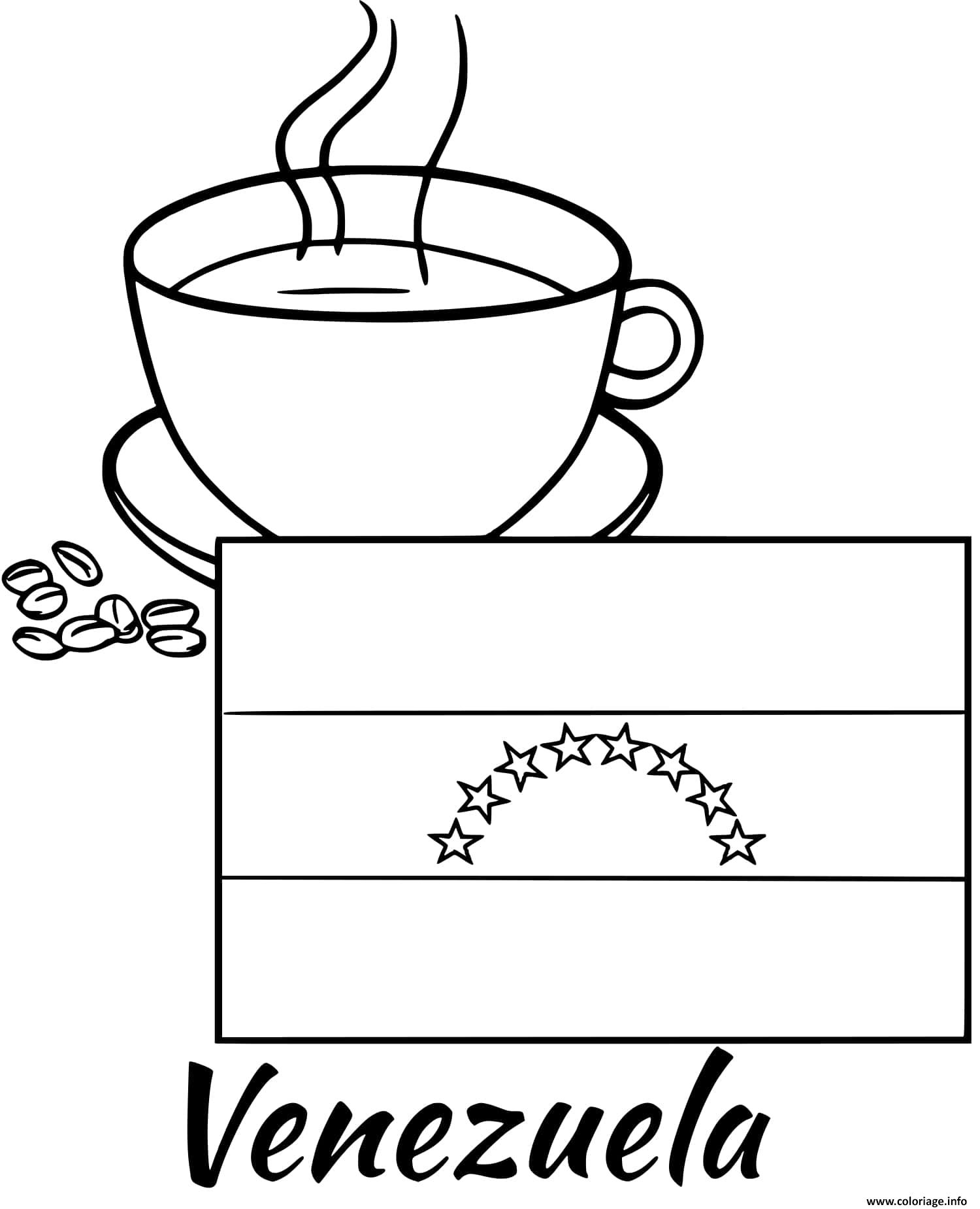 Dessin venezuela drapeau coffee Coloriage Gratuit à Imprimer