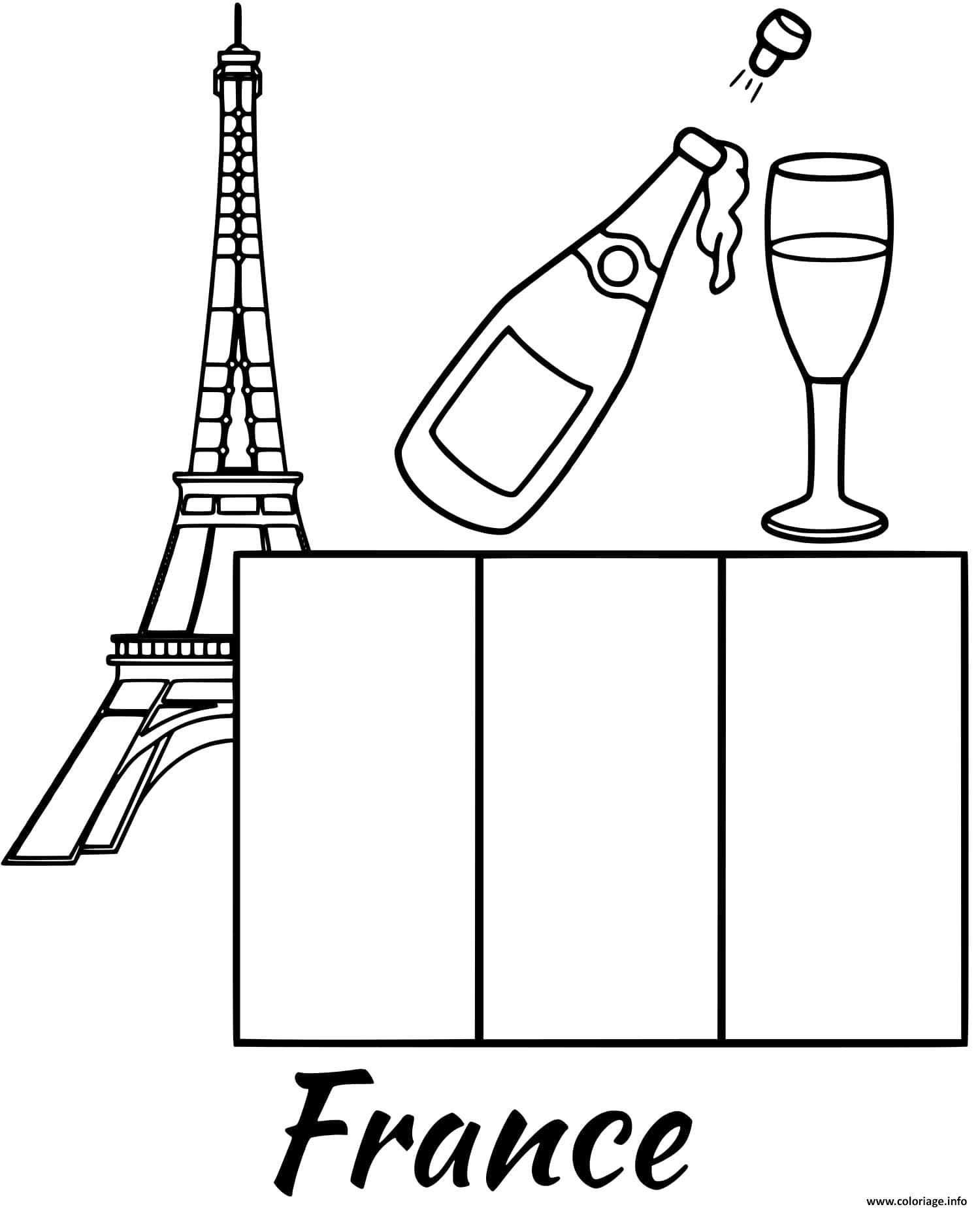Dessin france drapeau eiffel tower Coloriage Gratuit à Imprimer