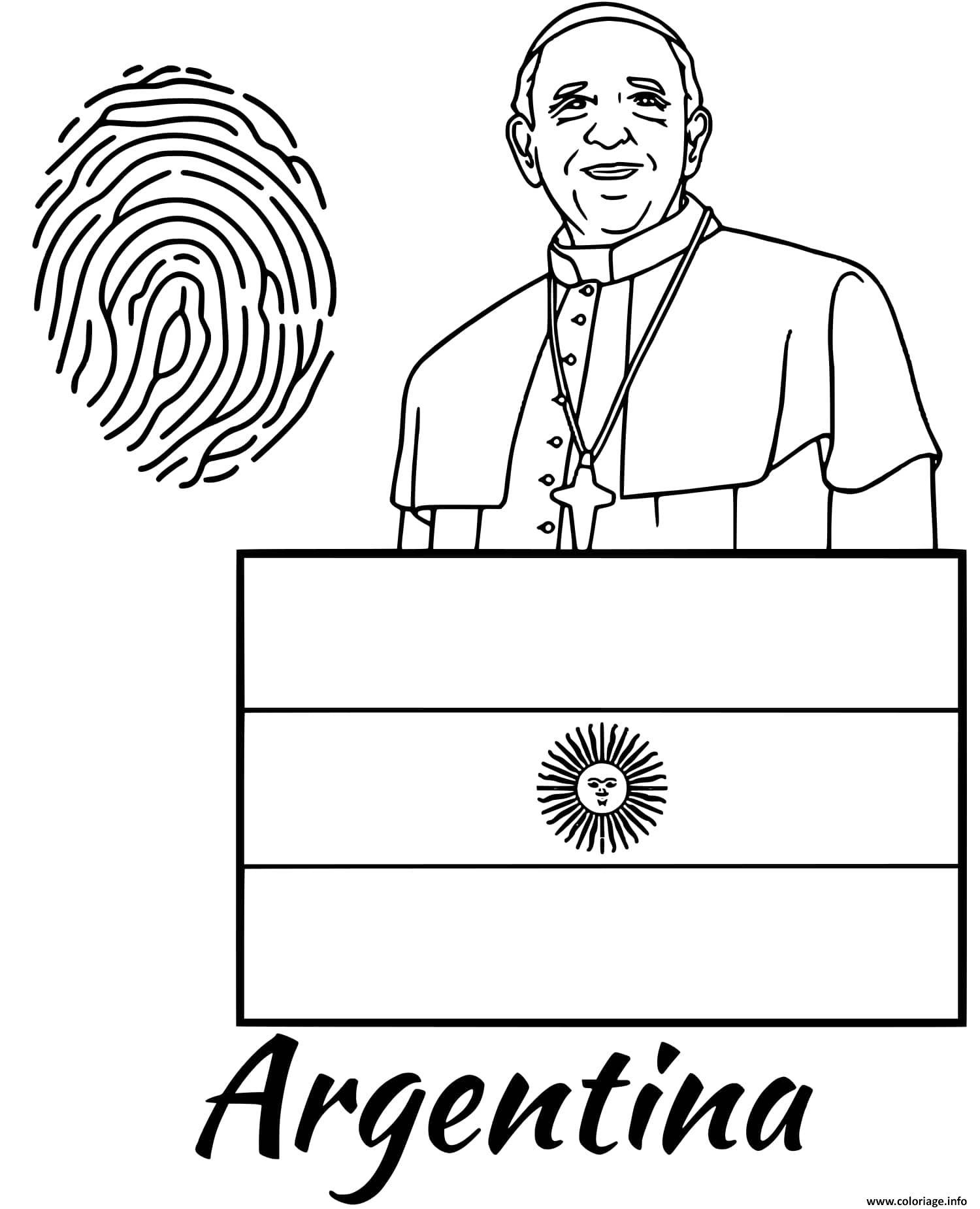 Dessin argentine drapeau fingerprint Coloriage Gratuit à Imprimer