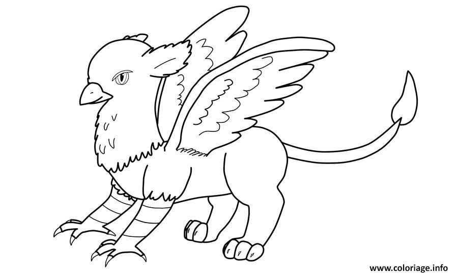 Dessin griffon aigle lion cheval Coloriage Gratuit à Imprimer