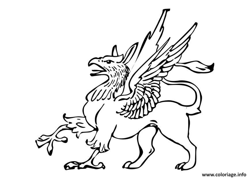 Dessin griffon creature legendaire grype Coloriage Gratuit à Imprimer