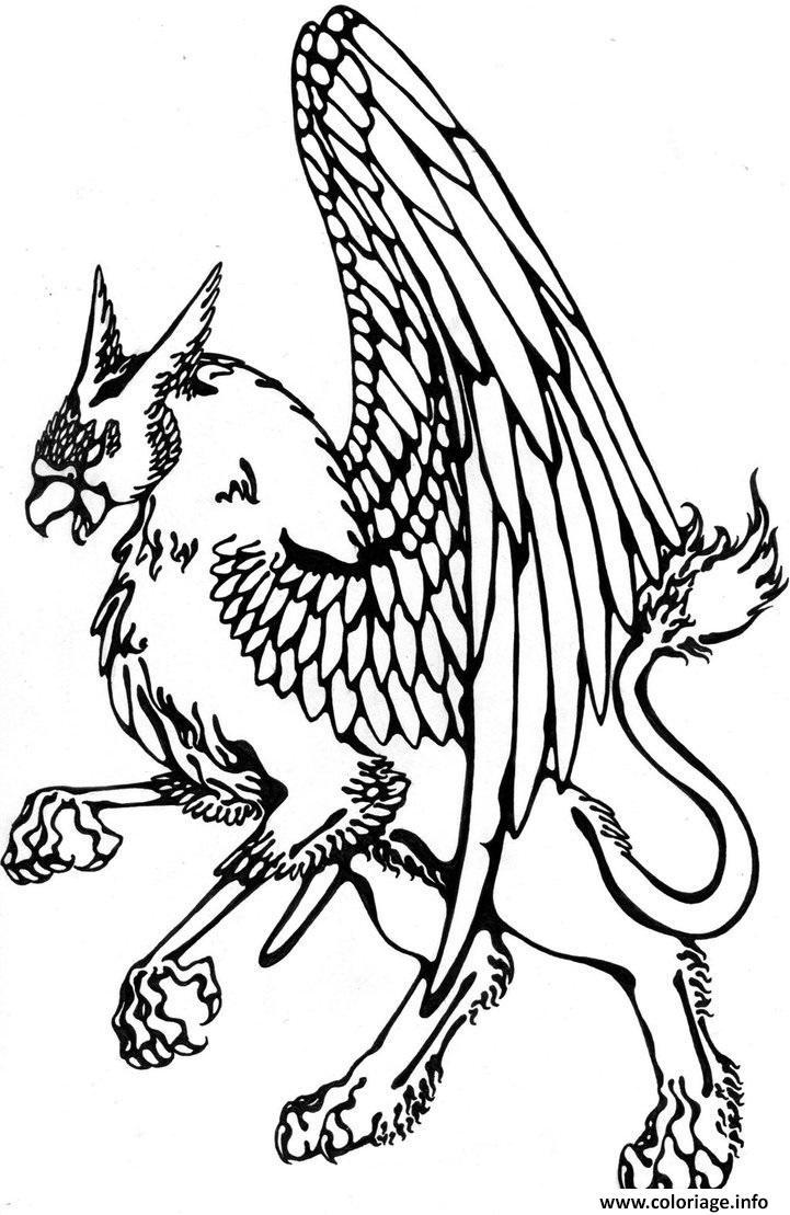Dessin griffon griffin black ink tattoo design Coloriage Gratuit à Imprimer