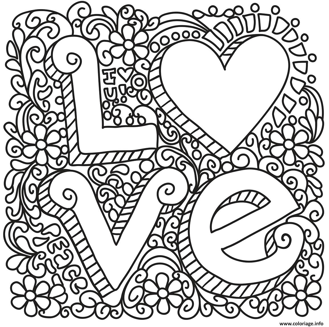 Coloriage Love Zentangle St Valentin dessin