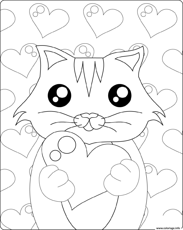 Dessin mignon chaton avec coeur st valentin Coloriage Gratuit à Imprimer