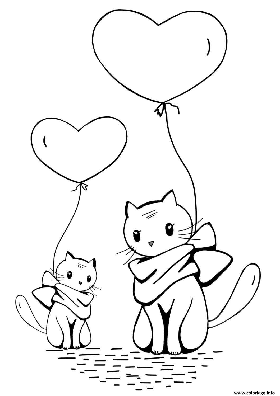 Coloriage Coeur Et Chat.Coloriage Ballons Chats Avec Coeur Jecolorie Com