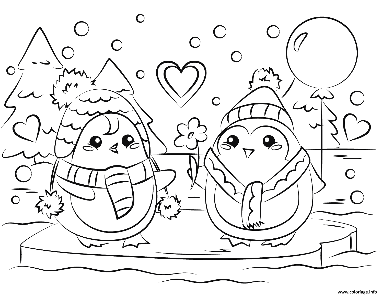 Dessin pingouin couple en amour st valentin Coloriage Gratuit à Imprimer