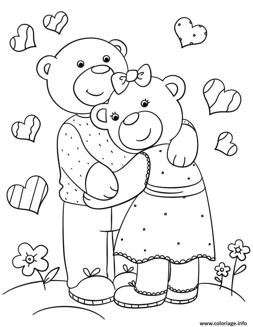 Dessin amour ourson par Lena London Coloriage Gratuit à Imprimer