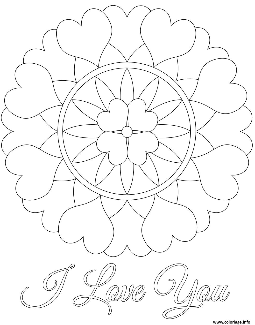 Coloriage I Love You Mandala Saint Valentin Dessin