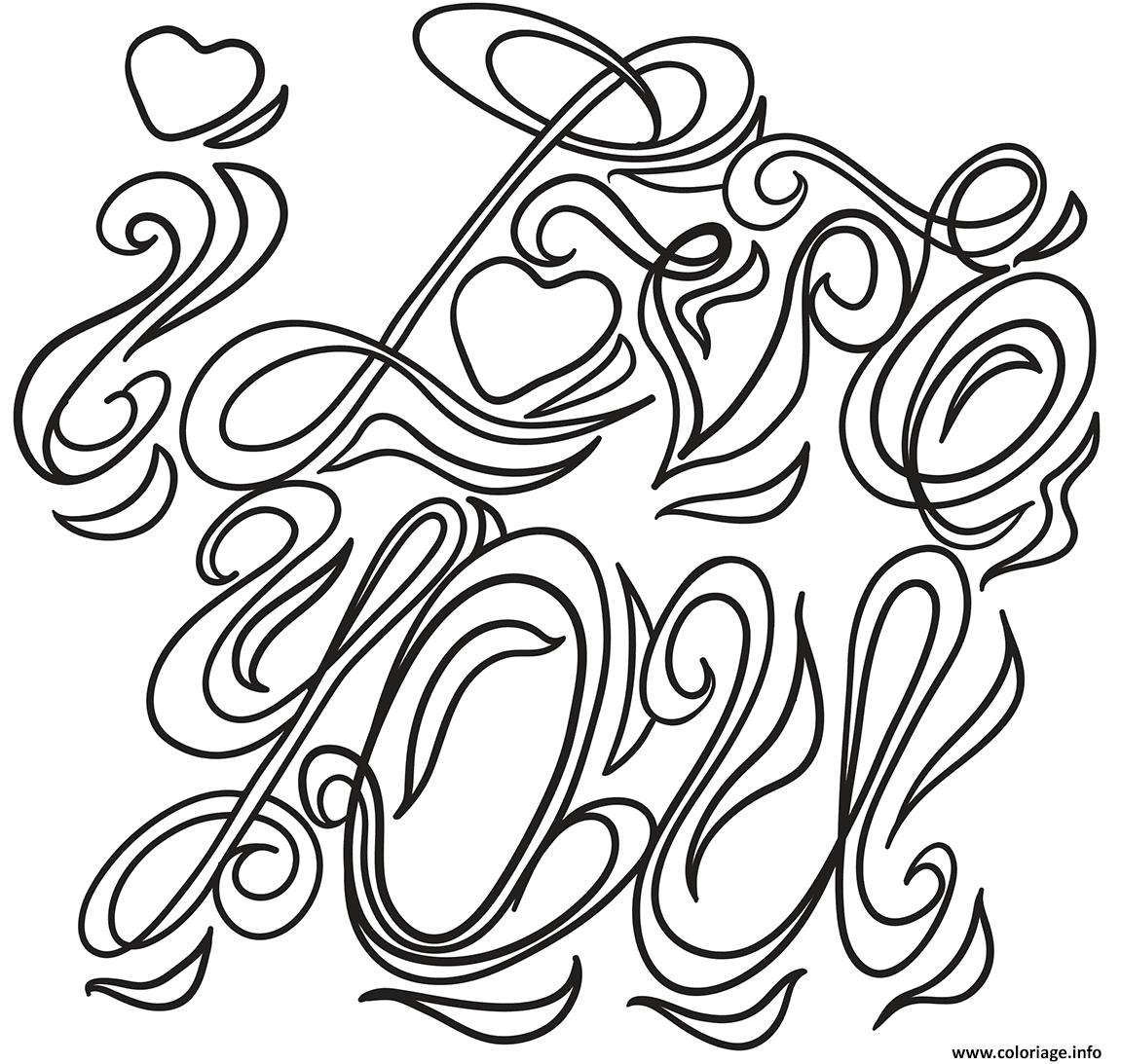 Dessin i love you saint valentin Coloriage Gratuit à Imprimer