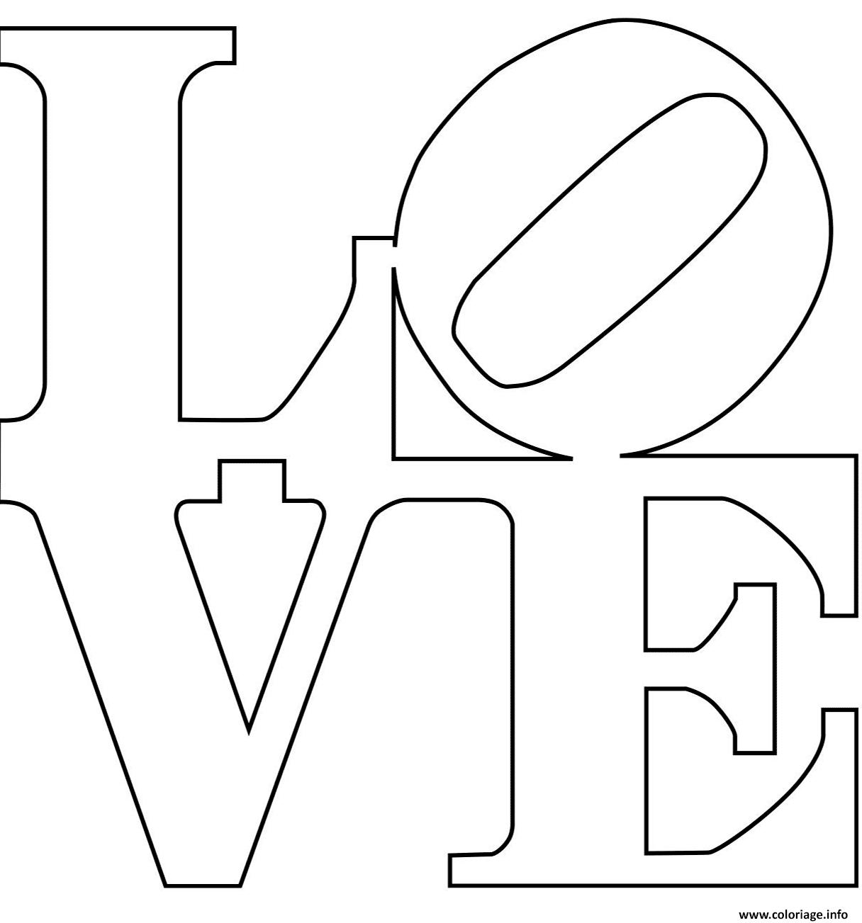 Dessin love black and white Coloriage Gratuit à Imprimer