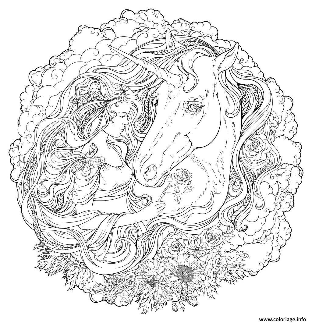 Coloriage Mandala Fille Et Licorne Dessin