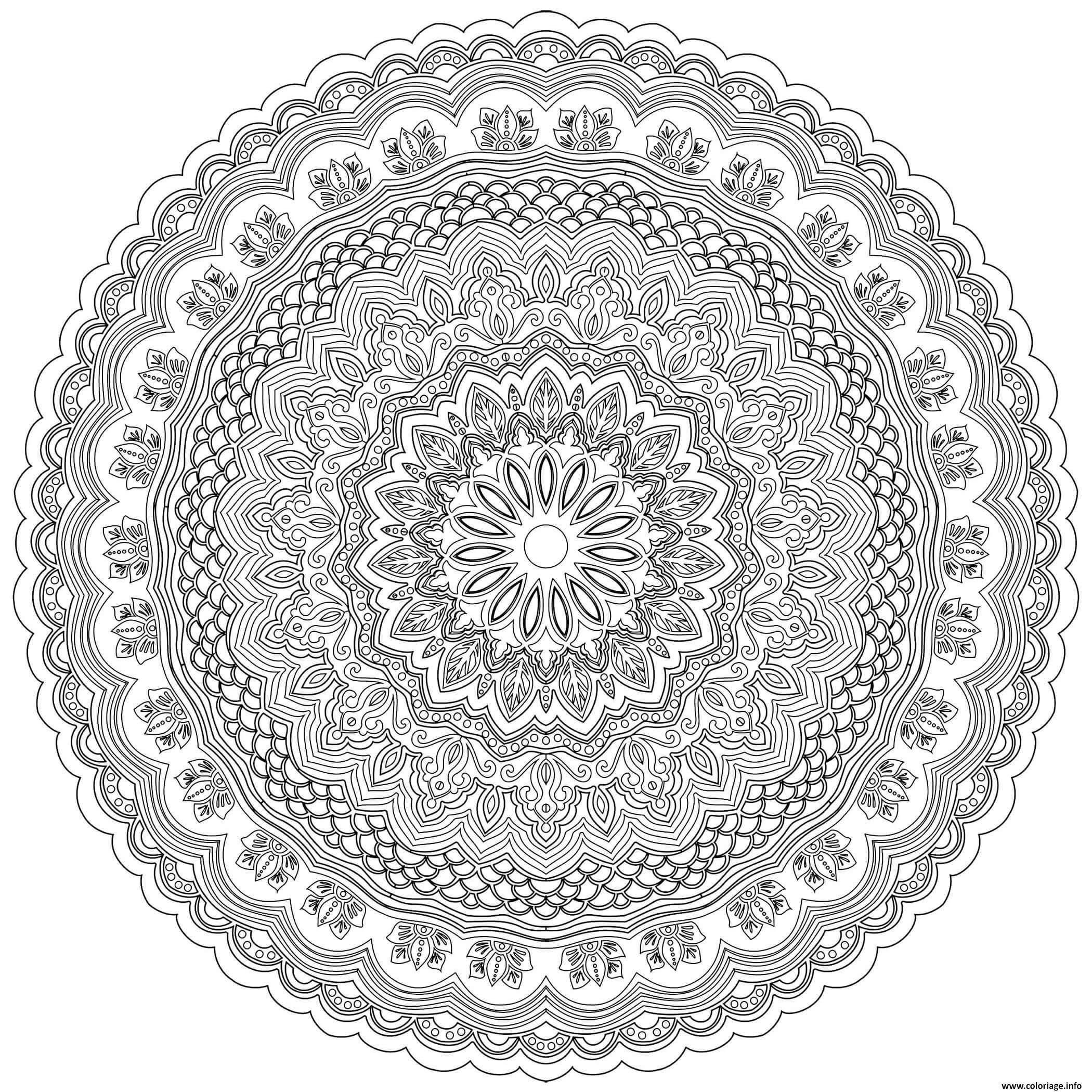 Dessin mandala zen antistress complexe adulte fleurs Coloriage Gratuit à Imprimer